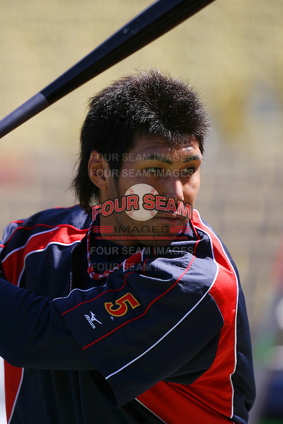 Kenta Kurihara of Japan during a game against the United States at the World Baseball Classic at Dodger Stadium on March 22, 2009 in Los Angeles, California. (Larry Goren/Four Seam Images)