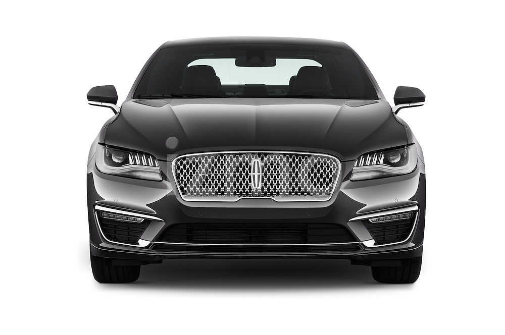 Car photography straight front view of a 2018 Lincoln MKZ Select 4 Door Sedan Front View