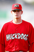 June 19, 2009:  Shortstop Ryan Jackson of the Batavia Muckdogs in the field during a game at Dwyer Stadium in Batavia, NY.  The Muckdogs are the NY-Penn League Short-Season Class-A affiliate of the St. Louis Cardinals.  Photo by:  Mike Janes/Four Seam Images