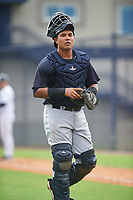 GCL Yankees West catcher Carlos Narvaez (14) during the first game of a doubleheader against the GCL Yankees East on July 19, 2017 at the Yankees Minor League Complex in Tampa, Florida.  GCL Yankees West defeated the GCL Yankees East 11-2.  (Mike Janes/Four Seam Images)