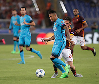 Calcio, Champions League, Gruppo E: Roma vs Barcellona. Roma, stadio Olimpico, 16 settembre 2015.<br /> FC Barcelona's Neymar, right, is challenged by Roma's Alessandro Florenzi during a Champions League, Group E football match between Roma and FC Barcelona, at Rome's Olympic stadium, 16 September 2015.<br /> UPDATE IMAGES PRESS/Isabella Bonotto