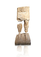 9th century BC Giants of Mont'e Prama  Nuragic stone statue of a warrior, Mont'e Prama archaeological site, Cabras. Museo archeologico nazionale, Cagliari, Italy. (National Archaeological Museum) - White Background