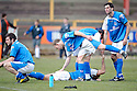 Stranraer players are distraught missing out on promotion after losing to Albion Rovers on penalties in the play off finals .....