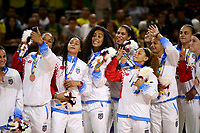 BARRANQUILLA - COLOMBIA, 24-07-2018: Jugadores de Cuba celebran la medalla de plata en la que Colombia ganó la medalla de oro durante partido de final en la modalidad de Baloncesto femenino como parte de los Juegos Centroamericanos y del Caribe Barranquilla 2018. /  Players of Cuba celebrate the silver medal in wich Colomba won the gold medal facing Cuba during final match of women's Basketball as a part of the Central American and Caribbean Sports Games Barranquilla 2018. Photo: VizzorImage / Cont
