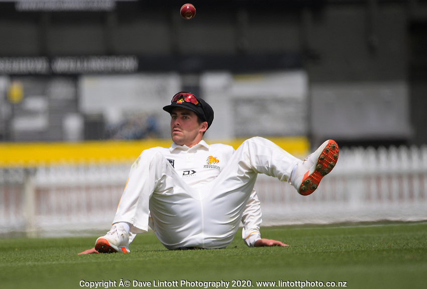 Peter Younghusband fields during day four of the Plunket Shield match between the Wellington Firebirds and Auckland Aces at the Basin Reserve in Wellington, New Zealand on Tuesday, 17 November 2020. Photo: Dave Lintott / lintottphoto.co.nz