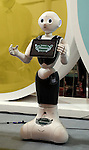July 21, 2016, Tokyo, Japan - Japanese communication giant Softbank's humanoid robot Pepper customer service model is displayed at Softbank's two-day convention Softbank World in Tokyo on Thursday, July 21, 2016. Softbank CEO Masayoshi Son delivered a keynote speech at the event after the company announced to acquire British chip maker ARM last week.     (Photo by Yoshio Tsunoda/AFLO) LWX -ytd-