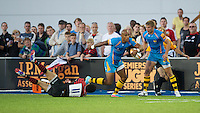 20130803 Copyright onEdition 2013 ©<br />Free for editorial use image, please credit: onEdition.<br /> Tom Varndell of London Wasps 7s in action during the J.P. Morgan Asset Management Premiership Rugby 7s Series.<br /><br />The J.P. Morgan Asset Management Premiership Rugby 7s Series kicks off for the fourth season on Thursday 1st August with Pool A at Kingsholm, Gloucester with Pool B being played at Franklin's Gardens, Northampton on Friday 2nd August, Pool C at Allianz Park, Saracens home ground, on Saturday 3rd August and the Final being played at The Recreation Ground, Bath on Friday 9th August. The innovative tournament, which involves all 12 Premiership Rugby clubs, offers a fantastic platform for some of the country's finest young athletes to be exposed to the excitement, pressures and skills required to compete at an elite level.<br /><br />The 12 Premiership Rugby clubs are divided into three groups for the tournament, with the winner and runner up of each regional event going through to the Final. There are six games each evening, with each match consisting of two 7 minute halves with a 2 minute break at half time.<br /><br />For additional images please go to: http://www.w-w-i.com/jp_morgan_premiership_sevens/<br /><br />For press contacts contact: Beth Begg at brandRapport on D: +44 (0)20 7932 5813 M: +44 (0)7900 88231 E: BBegg@brand-rapport.com<br /><br />If you require a higher resolution image or you have any other onEdition photographic enquiries, please contact onEdition on 0845 900 2 900 or email info@onEdition.com<br />This image is copyright the onEdition 2013©.<br /><br />This image has been supplied by onEdition and must be credited onEdition. The author is asserting his full Moral rights in relation to the publication of this image. Rights for onward transmission of any image or file is not granted or implied. Changing or deleting Copyright information is illegal as specified in the Copyright, Design and Patents Act 1988. If you are in any w