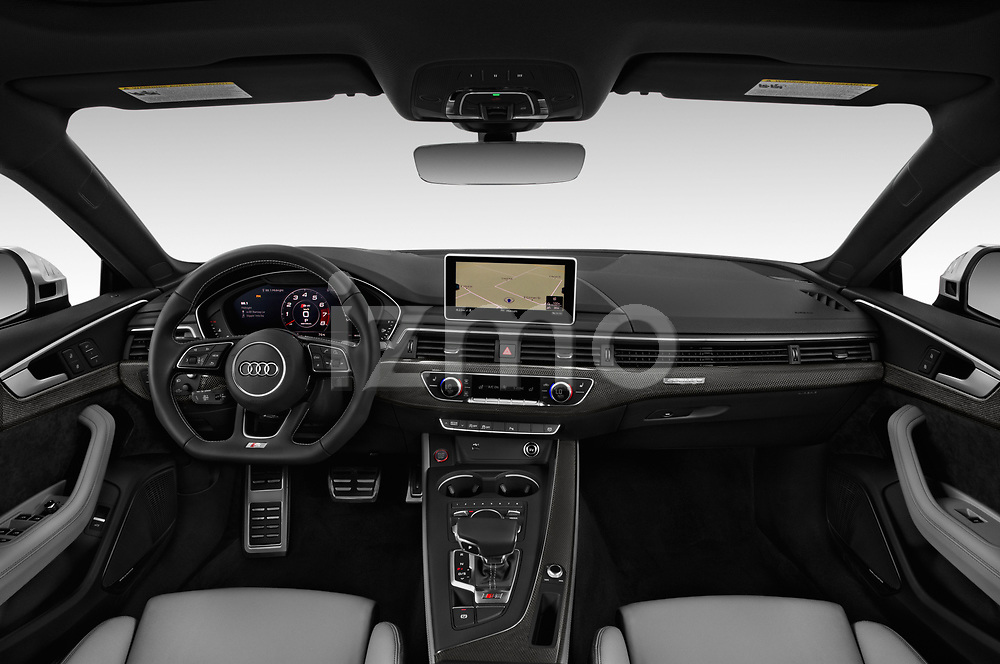 Stock photo of straight dashboard view of a 2018 Audi S5 Sportback Base 5 Door Hatchback