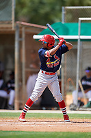 GCL Cardinals left fielder Diomedes Del Rio (44) at bat during a game against the GCL Marlins on August 4, 2018 at Roger Dean Chevrolet Stadium in Jupiter, Florida.  GCL Marlins defeated GCL Cardinals 6-3.  (Mike Janes/Four Seam Images)