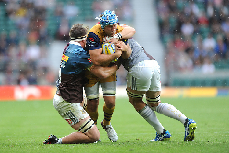 Jordan Crane of Bristol Rugby is tackled by Jack Clifford of Harlequins during the Aviva Premiership Rugby match between Harlequins and Bristol Rugby at Twickenham Stadium on Saturday 03 September 2016 (Photo by Rob Munro/Stewart Communications)