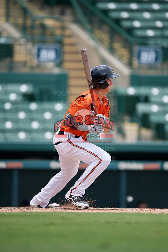 GCL Orioles second baseman Tyler Coolbaugh (6) grounds out during a game against the GCL Rays on July 21, 2017 at Ed Smith Stadium in Sarasota, Florida.  GCL Orioles defeated the GCL Rays 9-0.  (Mike Janes/Four Seam Images)