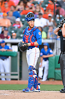 Tennessee Smokies catcher Cael Brockmeyer (34) during a game against the Biloxi Shuckers at Smokies Stadium on May 26, 2017 in Kodak, Tennessee. The Smokies defeated the Shuckers 3-2. (Tony Farlow/Four Seam Images)