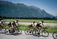 yellow jersey / GC leader Adam Yates (GBR/Mitchelton-Scott) escorted by his teammates in the bunch<br /> <br /> Stage 6: Saint-Vulbas to Saint-Michel-de-Maurienne (228km)<br /> 71st Critérium du Dauphiné 2019 (2.UWT)<br /> <br /> ©kramon