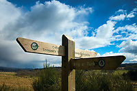 Signpost on The Great Trossachs Path near Loch Venachar, Loch Lomond and the Trossachs National Park, Stirlingshire