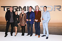"Tim Miller, Natalia Reyes, Linda Hamilton, Arnold Schwarzenegger, Mackenzie Davis and Gabriel Luna<br /> at the ""Terminator: Dark Fate"" photocall, London.<br /> <br /> ©Ash Knotek  D3529 17/10/2019"
