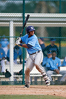 Tampa Bay Rays catcher Ronaldo Hernandez (90) at bat during an Instructional League game against the Pittsburgh Pirates on October 3, 2017 at Pirate City in Bradenton, Florida.  (Mike Janes/Four Seam Images)