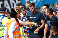 Hertha Berlin BSC fans are instructed to get back to their seats during the pre season friendly match between Crystal Palace and Hertha BSC at Selhurst Park, London, England on 3 August 2019. Photo by Carlton Myrie / PRiME Media Images.