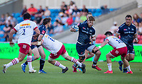 4th June 2021; AJ Bell Stadium, Salford, Lancashire, England; English Premiership Rugby, Sale Sharks versus Harlequins;  Dan du Preez of Sale Sharks dances through Quins defence
