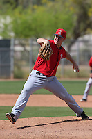 Wade LeBlanc #37 of the Los Angeles Angels pitches during a Minor League Spring Training Game against the Chicago Cubs at the Los Angeles Angels Spring Training Complex on March 23, 2014 in Tempe, Arizona. (Larry Goren/Four Seam Images)