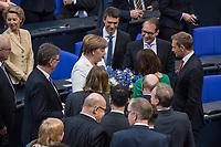 19. Sitzung des Deutschen Bundestag am Mittwoch den 14. Maerz 2018.<br /> Erster Tagesordnungspunkt war die Wahl von Angela Merkel zur Bundeskanzlerin.<br /> Im Bild: Angela Merkel ist mit 364 von 692 abgegebenen Stimmen zum vierten Mal zur Bundeskanzlerin gewaehlt worden. Angela Merkel betrachtet den Blumenstrauss von Alexander Dobrindt.<br /> 14.3.2018, Berlin<br /> Copyright: Christian-Ditsch.de<br /> [Inhaltsveraendernde Manipulation des Fotos nur nach ausdruecklicher Genehmigung des Fotografen. Vereinbarungen ueber Abtretung von Persoenlichkeitsrechten/Model Release der abgebildeten Person/Personen liegen nicht vor. NO MODEL RELEASE! Nur fuer Redaktionelle Zwecke. Don't publish without copyright Christian-Ditsch.de, Veroeffentlichung nur mit Fotografennennung, sowie gegen Honorar, MwSt. und Beleg. Konto: I N G - D i B a, IBAN DE58500105175400192269, BIC INGDDEFFXXX, Kontakt: post@christian-ditsch.de<br /> Bei der Bearbeitung der Dateiinformationen darf die Urheberkennzeichnung in den EXIF- und  IPTC-Daten nicht entfernt werden, diese sind in digitalen Medien nach §95c UrhG rechtlich geschuetzt. Der Urhebervermerk wird gemaess §13 UrhG verlangt.]