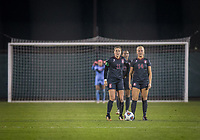 STANFORD, CA - November 9, 2018: Jordan DiBiasi, Civana Kuhlmann, Naomi Girma at Laird Q. Cagan Stadium. The top seeded Stanford Cardinal defeated the Seattle Redhawks 3-0 in the opening round of the NCAA tournament.