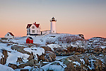 Sunset at Nubble Light, Cape Neddick, York, ME, USA