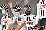 Team Sunweb at sign on before La Fleche Wallonne 2020, running 202km from Herve to Mur de Huy, Belgium. 30th September 2020.<br /> Picture: ASO/Gautier Demouveaux | Cyclefile<br /> All photos usage must carry mandatory copyright credit (© Cyclefile | ASO/Gautier Demouveaux)