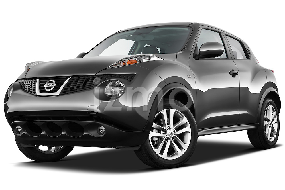 Low Aggressive Front Three Quarter View 2011 Nissan Juke SV SUV Stock Photo