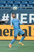FOXBOROUGH, MA - SEPTEMBER 19: Valentin Castellanos #11 of New York City FC chest traps the ball during a game between New York City FC and New England Revolution at Gillette on September 19, 2020 in Foxborough, Massachusetts.
