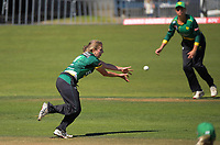 Central's Melissa Hansen fields off her bowling during the women's Dream11 Super Smash T20 cricket match between the Central Hinds and Auckland Hearts at Pukekura Park in New Plymouth, New Zealand on Thursday, 31 December 2020. Photo: Dave Lintott / lintottphoto.co.nz