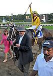 5 September 2009: Jockey Calvin Borel celebrates his win in the Woodward Stakes aboard Rachel Alexandra at Saratoga Race Track in Saratoga Springs, New York