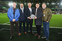 Lee Trundle with match ball sponsor the Premier League match between Swansea City and Liverpool at the Liberty Stadium, Swansea, Wales, UK. Monday 22 January 2018