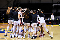 SANTA CRUZ, CA - JANUARY 22: Alyssa Jerome #10 fires up the team before the Stanford Cardinal women's basketball game vs the UCLA Bruins at Kaiser Arena on January 22, 2021 in Santa Cruz, California.
