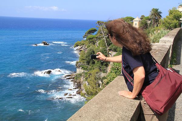Beth along the Mediterranean  Sea in Bogliasco, Genova, Italy.