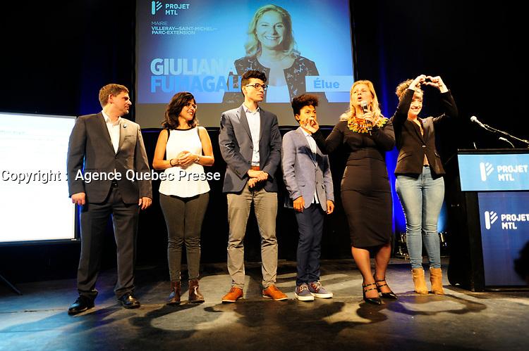 Valerie Plante et Projet Montreal remportent l'election municipale contre Denis Coderre, le 5 novembre 2017.<br /> <br /> en photo :  Giuliana Fumagalli