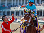 November 3, 2018: Monomoy Girl #11, ridden by Florent Geroux, wins the Longines Breeders' Cup Distaff on Breeders' Cup World Championship Saturday at Churchill Downs on November 3, 2018 in Louisville, Kentucky. Eric Patterson/Eclipse Sportswire/CSM