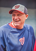 20 April 2013: Washington Nationals Bench Coach Randy Knorr smiles during batting practice prior to a game against the New York Mets at Citi Field in Flushing, NY. The Nationals rallied to defeat the Mets 7-6 and tie their 3-game series at one a piece. Mandatory Credit: Ed Wolfstein Photo *** RAW (NEF) Image File Available ***