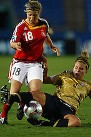 Svenja Huth (GER) and Amber Brooks (USA) compete for the ball..FIFA U17 Women's World Cup, Semi Final, Germany v USA, QEII Stadium, Christchurch, New Zealand, Thursday 13 November 2008. Photo: Renee McKay/PHOTOSPORT