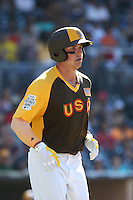 Hunter Renfroe of the USA Team runs to first base during a game against the World Team during The Futures Game at Petco Park on July 10, 2016 in San Diego, California. World Team defeated USA Team, 11-3. (Larry Goren/Four Seam Images)