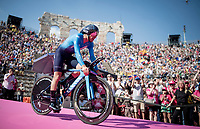 Mikel Landa (ESP/SKY) entering the Verona amphitheater after finishing the closing iTT<br /> <br /> Stage 21 (ITT): Verona to Verona (17km)<br /> 102nd Giro d'Italia 2019<br /> <br /> ©kramon