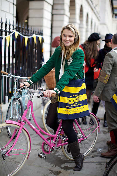 Amber Atherton rides a Pashley Poppy bicycle at The Tweed Run