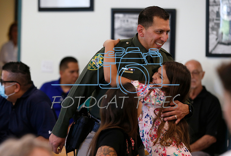 Lt. Daniel Gonzales talks with supporters before a promotion ceremony at Carson City Sheriff's Office, in Carson City, Nev., on Thursday, July 2, 2020. <br /> Photo by Cathleen Allison