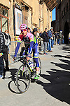Lampre-Merida team riders make their way to sign on before the start of the 2015 Strade Bianche Eroica Pro cycle race 200km over the white gravel roads from San Gimignano to Siena, Tuscany, Italy. 7th March 2015<br /> Photo: Eoin Clarke www.newsfile.ie