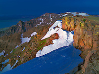 East Rim Overlook with snow bank. Steens Mountain Wilderness, Oregon