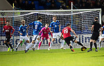 St Johnstone v Kilmarnock…24.11.18…   McDiarmid Park    SPFL<br />Greg Stewart fails to get through the saints defence as they keep a record sixth clean sheet<br />Picture by Graeme Hart. <br />Copyright Perthshire Picture Agency<br />Tel: 01738 623350  Mobile: 07990 594431