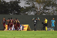 MONTERIA - COLOMBIA, 02-03-2019: Jugadores de Tolima celebran después de anotar el tercer gol de su equipo durante el partido por la fecha 8 de la Liga Águila I 2019 entre Jaguares de Córdoba y Deportes Tolima jugado en el estadio Jaraguay de la ciudad de Montería. / Players of Tolima celebrate after scoring the third goal of their team during match for the date 8 as part Aguila League I 2019 between Jaguares de Cordoba and Deportes Tolima played at Jaraguay stadium in Monteria city. Photo: VizzorImage / Andres Felipe Lopez / Cont