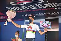 30th May 2021; 104th Giro d Italia 2021, 21st stage Senago to Milan, Italy;  IneGrenadiers Ganna, Filippo Milano - celebrates on the podium