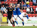 St Johnstone v Rangers…11.09.21  McDiarmid Park    SPFL<br />Chris Kane and Filip Helander<br />Picture by Graeme Hart.<br />Copyright Perthshire Picture Agency<br />Tel: 01738 623350  Mobile: 07990 594431