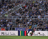 28th August 2021; St James Park, Newcastle upon Tyne, England; EPL Premier League football, Newcastle United versus Southampton; Allan Saint-Maximin of Newcastle United takes on James Ward-Prowse of Southampton