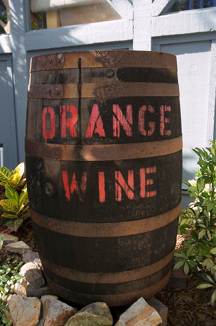 Wine barrel advertises Orange wine at Florida Orange Grove and Winery in St. Petersurg.